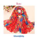 Scarves ผ้าพันคอสไตล์เกาหลี สีแดง
