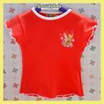 เสื้อผ้าเด็ก เสื้อผ้าเด็กแขนสั้นคอกลมพิมพ์ลายการ์ตูน สีแดงอมส้ม ขนาด 2 ขวบ น่ารัก