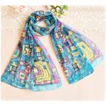 ผ้าพันคอผู้หญิง ผ้าพันคอสไตล์ญี่ปุ่น ผ้าชีฟอง ขนาด กว้าง 50 ซม.ยาว 160 ซม. สีฟ้า