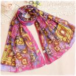 ผ้าพันคอผู้หญิง ผ้าพันคอสไตล์ญี่ปุ่น ผ้าชีฟอง ขนาด กว้าง 50 ซม.ยาว 160 ซม. สีชมพู