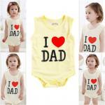 เสื้อผ้าเด็ก ชุดบอดี้สูทเด็ก บอดี้สูทเด็ก บอดี้สูทเด็กแขนกุด I LOVE DAD สีเหลือง ขนาด 100