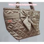 กระเป๋าถือ ผ้าซาติน สีทอง ผูกโบว์ สายหิ้ว หูเกลียว (กระเป๋าธนู กระเป๋าผ้า Thanu กระเป๋าแฟชั่น)