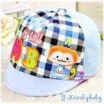 หมวกเด็ก หมวกเด็กอ่อน หมวกเด็กสไตล์เกาหลี ลายการ์ตูนลิง สามมิติ - ฟ้า