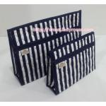 กระเป๋าเครื่องสำอางค์ นารายา ผ้าคอตตอน ทรงสี่เหลี่ยมผืนผ้า ลายทาง น้ำเงิน-ขาว เป็นชุด 2 ชิ้น Size L, S (กระเป๋านารายา กระเป๋าผ้า NaRaYa)