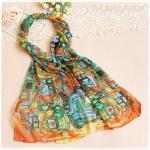 ผ้าพันคอผู้หญิง ผ้าพันคอสไตล์ญี่ปุ่น ผ้าชีฟอง ขนาด กว้าง 50 ซม.ยาว 160 ซม. สีส้มเขียว