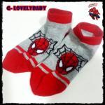 ถุงเท้าเด็ก ถุงเท้าแบรนด์เนม Spiderman ของแท้ สีเทาแดง อายุ 2-4 ปี