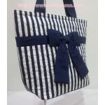 กระเป๋าสะพาย นารายา ผ้าคอตตอน ลายทาง น้ำเงิน-ขาว ผูกโบว์ (กระเป๋านารายา กระเป๋าผ้า NaRaYa กระเป๋าแฟชั่น)