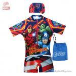 (size L)ชุดว่ายน้ำเด็กผู้ชาย Super Hero The Avengers ชุดบอดี้สูทเสื้อแขนสั้นกางเกงขาสั้นซิบหน้า สกรีนตัว The Avengers มาพร้อมหมวกว่ายน้ำและถุงผ้า สุดเท่ห์ ใส่สบาย ลิขสิทธิ์แท้(สำหรับเด็กอายุ 6-8 ปี)