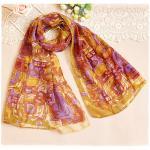 ผ้าพันคอผู้หญิง ผ้าพันคอสไตล์ญี่ปุ่น ผ้าชีฟอง ขนาด กว้าง 50 ซม.ยาว 160 ซม. สีส้ม