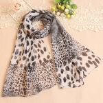 ผ้าพันคอผู้หญิง ผ้าพันคอสไตล์ญี่ปุ่น ผ้าพันคอชีฟอง ลายเสือดาว ขนาด กว้าง 50 ซม.ยาว 160 ซม. สีดำขาวเทา