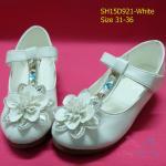 15D921 White รองเท้าเด็กผู้หญิง หนังแก้วสีขาว ส้นสูงปานกลาง ใส่ไปงาน แต่งงานเลี้ยง (31)