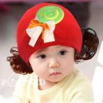 หมวกเด็ก หมวกปอยผมเด็ก หมวกไหมพรมติดปอยผม 2 ข้าง หมวกวิกผม หมวกไหมพรมฝ้ายเกาหลี น่ารักๆ แบบขนมลูกกวาดโบว์ สีแดง