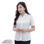 เสื้อเชิ้ตทำงาน เสื้อเชิ้ตแฟชั่น เสื้อเชิ้ตแขนสั้น สีขาว SIZE 8XL