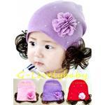 หมวกเด็ก หมวกปอยผมเด็ก หมวกไหมพรมติดปอยผม 2 ข้าง หมวกวิกผม หมวกไหมพรมฝ้ายเกาหลี น่ารักๆ แบบประดับเพชรและดอกไม้