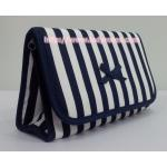 กระเป๋าเครื่องสำอางค์ นารายา ผ้าคอตตอน ลายทาง น้ำเงิน-ขาว มีกระจกในตัว Size L (กระเป๋านารายา กระเป๋าผ้า NaRaYa)