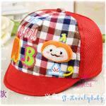 หมวกเด็ก หมวกเด็กอ่อน หมวกเด็กสไตล์เกาหลี ลายการ์ตูนลิง สามมิติ - แดง