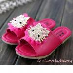 Hellokitty Kitty Baby Shoes รองเท้าเด็ก รองเท้าเด็กแบรนด์เนมเกาหลี รองเท้าเด็กผู้หญิงน่ารัก รองเท้าเด็กหญิง รองเท้าแตะเด็ก สไตล์เกาหลี รูปแบบหัวแมวคิตตี้ งานโลหะฝังเพชรคริสตัล Size 31-36