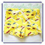 ชุดว่ายน้ำเด็กชาย สินค้านำเข้าจากต่างประเทศ แบรนด์ญี่ปุ่น สีเหลือง ลายรถยนต์ ขนาด 110 สำหรับส่วนสูง 105-115cm