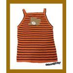 เสื้อผ้าเด็ก ผ้าไหมพรม แบบสไตล์เกาหลี สีส้มดำ + งานปักลายการ์ตูน อายุ3-5ขวบ
