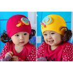 หมวกเด็ก หมวกปอยผมเด็ก หมวกไหมพรมติดปอยผม 2 ข้าง หมวกวิกผม หมวกไหมพรมฝ้ายเกาหลี น่ารักๆ แบบขนมลูกกวาดโบว์