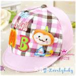หมวกเด็ก หมวกเด็กอ่อน หมวกเด็กสไตล์เกาหลี ลายการ์ตูนลิง สามมิติ - ชมพู
