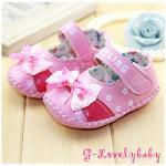 รองเท้าเด็ก รองเท้าหนังพียู รองเท้าเด็กวัยหัดเดิน ลายโบว์ใหญ่ ดอกไม้ พื้นยางกันลื่น ไซต์ 13