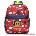 Kids Backpacks , Kindergarten Backpacks กระเป๋าเป้เด็ก กระเป๋าเด็กลายการ์ตูน หน้าลิง กระเป๋าเป้เด็ก กระเป๋าสำหรับเด็กอนุบาล น่ารักๆ สีแดง