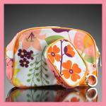 Clinique Cosmetics Bag 2 in 1 กระเป๋าเครื่องสำอางคลีนิกซ์ แพกสองชิ้น สีส้มม่วงดอกไม้