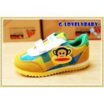 รองเท้าเด็ก รองเท้าผ้าใบเด็ก รองเท้าผ้าใบเด็กหน้าลิง รองเท้าผ้าใบพอลแฟรงค์ สีเหลือง size 26-30