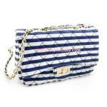 สีน้ำเงิน กระเป๋าแฟชั่น นำเข้า หนังลายริ้ว ซับในหนังสีแดง แต่งอะไหล่สไตล์ Chanel Stripe (กระเป๋าแฟชั่น)