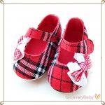 รองเท้าเด็กวัยหัดเดิน Scott Pattern Infant Baby Shoes Pre walker Baby Shoes ลายสก็อตสีแดง Size L