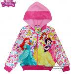 Jacket Disney Princess เสื้อแจ็คเก็ต เสื้อกันหนาว เด็กผู้หญิง สกรีนลาย เจ้าหญิงปริ้นเซส สีชมขาว รูดซิป มีหมวก(ฮู้ด)ใส่คลุมกันหนาว กันแดด ใส่สบาย ดิสนีย์แท้ ลิขสิทธิ์แท้ (Size L)
