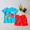 เสื้อชุดเด็กสีฟ้า ลายสวนสัตว์ มาพร้อมกางเกงสีแดง