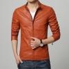 Pre-Order เสื้อแจ็คเก็ตหนัง แบบเข้ารูป สีส้ม