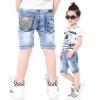 กางเกงยีนส์เด็กขาสามส่วนผ้านุ่มยืด
