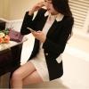 Pre order เสื้อสูทแฟชั่นเกาหลี ปกสูท แขนยาว แต่งด้วยผ้าต่างสีที่ปกและกระเป๋า สีดำ