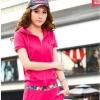 Pre-Order ชุดออกกำลังกายแฟชั่น ชุดกีฬาผู้หญิงเซ็ตคู่ เสื้อแขนสั้นและกางเกงขายาว มีฮู๊ด สีแดง แต่งข้างด้วยผ้าพิมพ์ลายดอกไม้เก๋ ๆ