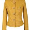 เสื้อผ้าแฟชั่นนำเข้า : เสื้อแจ็คเก็ตหนัง เสื้อหนังแฟชั่น พร้อมส่ง แขนยาว สีเหลือง หนังด้าน เข้ารูป ติดกระดุมหน้า ดีเทลหัวไหล่สุดเท่ห์