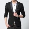 Pre-Order เสื้อสูท สูทลำลอง สูทแขนยาว เบลเซอร์ลำลองผ้าฝ้ายกำมะหยี่ สีดำปกสีเทาเข้ม
