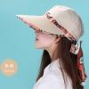 Pre-order หมวกแฟชั่น หมวกแก็ปปีกกว้าง หมวกฤดูร้อน กันแดด กันแสงยูวี สีเบจแต่งด้วยผ้าพิมพ์ลายดอกไม้