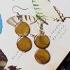 ++ ต่างหู เปลือกหอยมุก ย้อมสีทอง ทรงเหรียญคู่ (Mother of Pearl) ++