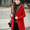 เสื้อไหมพรมนำเข้า : เสื้อกันหนาวไหมพรม พร้อมส่ง ตัวยาว สีแดง ลายเก๋ๆ มีฮูท ด้านในเป็นขนสัตว์สังเคราะห์ เนื้อนิ่ม น่ารักๆ