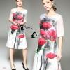 Cliona made'Water Print Flowers Dress - Long dress สีขาวแขนยาวถึงช่วงข้อศอก ปริ้นลายดอกไม่สีแดงคมชัด มีซับในเย็บติด งานสวยมากค่ะ ผ่าด้านข้างทั้งสองข้าง ทั้งตัวซับในและตัวเดรสเพื่อสะดวกต่อการเดิน จั๊มปลายแขนเหมือนแขนตุ๊กตา งานสวยดูดีมากค่ะ งานเกรด Pre