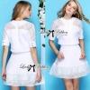 Lady Ribbon's Made Lady Jessy Minimal Chic Polka Embroidered Set in White เซ็ตเสื้อและกระโปรงตัดต่อผ้าปักประดับสไตล์มินิมัลชิค ตัวนี้เหมาะกับสาวที่ชอบความเรียบๆง่าย ใส่แบบเรียบๆแต่ดูเท่อยู่ในตัว เสื้อกับกระโปรงเป็นแบบเดียวกันที่เข้าเซ็ตกันมากค่ะ เสื้