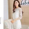 Pre-order เสื้อผ้าลูกไม้ แขนยาว ตกแต่งลูกไม้และฉลุผ้าชีฟอง เสื้อลูกไม้ลำลองแบบหรูหรา สีขาว แฟชั่นสไตล์เกาหลีปี 2015