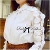 Lady Ribbon's Made Lady Carrie Basic Rose Embroidered Shirt in White เชิ้ตแขนยาวตัดแต่งผู้ลูกไม้ลายดอกกุหลาบ ตัวนี้น่ารักและเก๋มากๆ ดูมีลูกเล่นมากกว่าเสื้อเชิ้ตธรรมดา ด้านหน้าเป็นเชิ้ตเรียบๆมาปัก แต่มีรายละเอียดที่ช่วงแขนด้านหน้า ตัดต่อผ้าลูกไม้ลายดอ