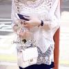Seoul Secret Say's... Lightly Cream Knitty Blouse Material : เนื้อผ้าคอตตอนเย็บต่อด้วยผ้าลูกไม้ปักและฉลุลายแต่งที่ตัวเสื้อ ใส่ง่ายสไตล์สาวเกาหลี ด้วยเสื้อทรงหลวม สาวๆ ใส่ไปชิลล์ที่ทะเลดูเหมาะมากคะ ใส่ง่ายแมตซ์ง่าย เก๋ๆ ดูสบายๆ ลุคสาวหวาน