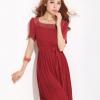 ชุดเดรสไซส์ใหญ่ผ้าชีฟองสีแดงแต่งโครเชย์ถักกระโปรงอัดพลีทมีเชือกผูกโบว์เอว (2XL,4XL)