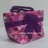 กระเป๋าถือ นารายา Size S ผ้าคอตตอน สีชมพู ลายดอกไม้ ผูกโบว์ สีม่วง สายหิ้ว หูเกลียว (กระเป๋านารายา กระเป๋าผ้า NaRaYa กระเป๋าแฟชั่น)