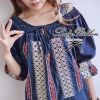 Lady Ribbon's Made Ribbon Cross-stitch Embroidery Blouse, Korea เสื้อสีกรมปักครอสติสเกาหลี เก๋ๆด้วยดีเทลสม้อคคอเสื้อ ผูกโบว์น่ารักค่า ลุคชิลๆ สดใสด้วยโทนสีน้ำเงิน-แดง ใส่สบาย แบบสาวเกาหลีน่ารักมากค่าา **งานเกรด Premium Quality นะคะ Pattern / Cutting